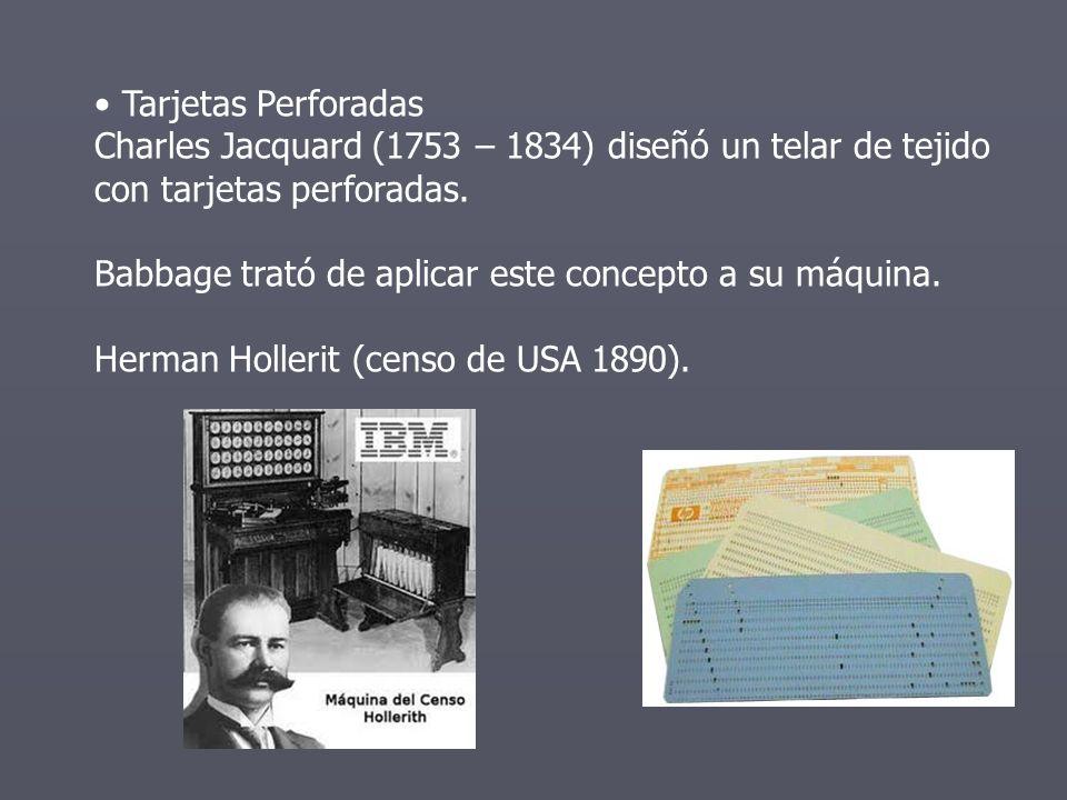 Tarjetas Perforadas Charles Jacquard (1753 – 1834) diseñó un telar de tejido con tarjetas perforadas. Babbage trató de aplicar este concepto a su máqu