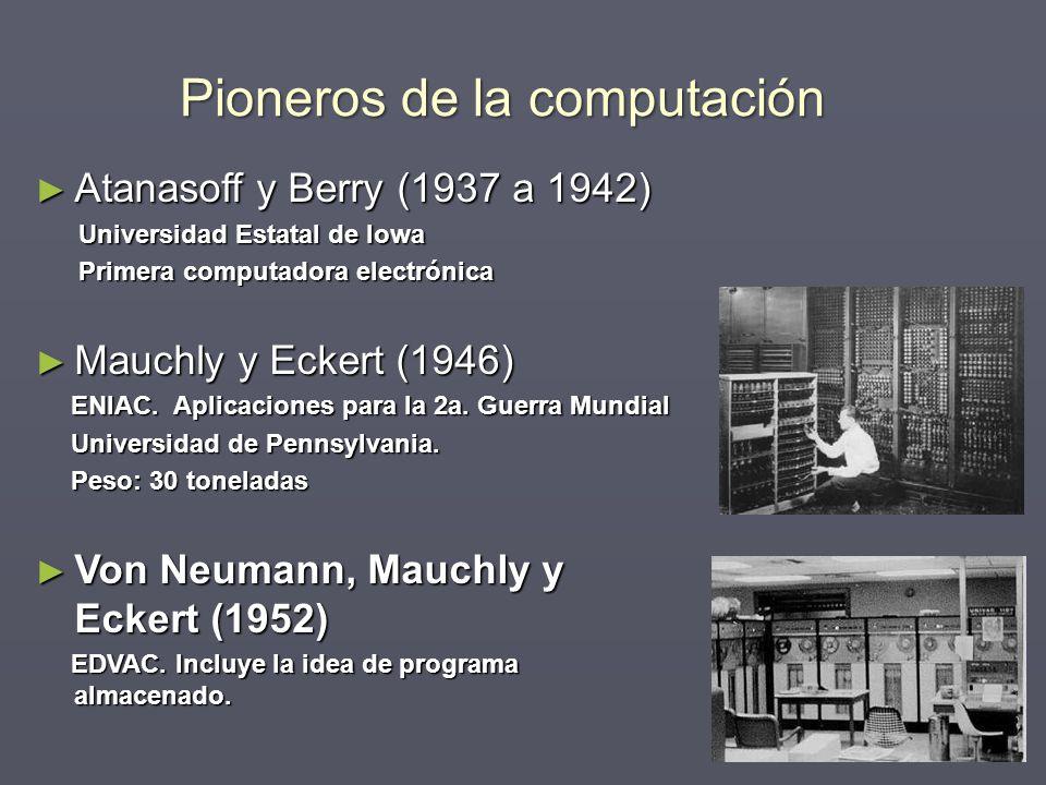 Pioneros de la computación Atanasoff y Berry (1937 a 1942) Atanasoff y Berry (1937 a 1942) Universidad Estatal de Iowa Universidad Estatal de Iowa Pri