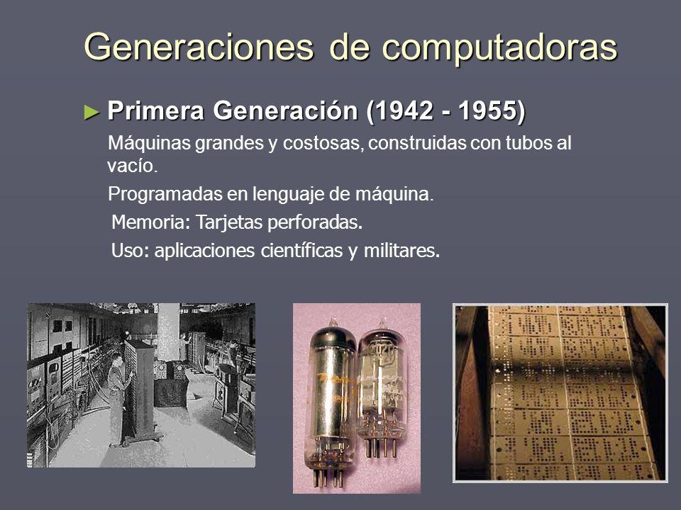Generaciones de computadoras Primera Generación (1942 - 1955) Primera Generación (1942 - 1955) Máquinas grandes y costosas, construidas con tubos al v
