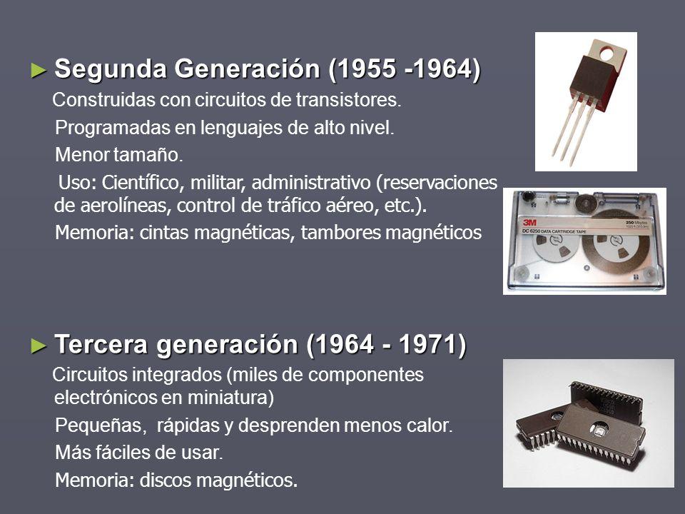 Segunda Generación (1955 -1964) Segunda Generación (1955 -1964) Construidas con circuitos de transistores. Programadas en lenguajes de alto nivel. Men