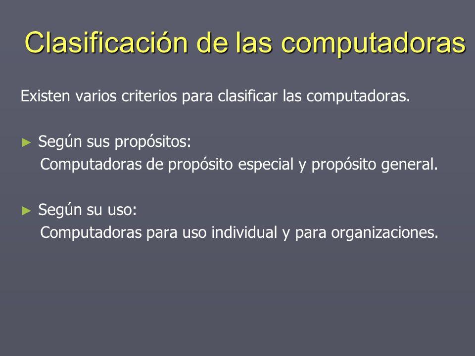 Clasificación de las computadoras Existen varios criterios para clasificar las computadoras. Según sus propósitos: Computadoras de propósito especial