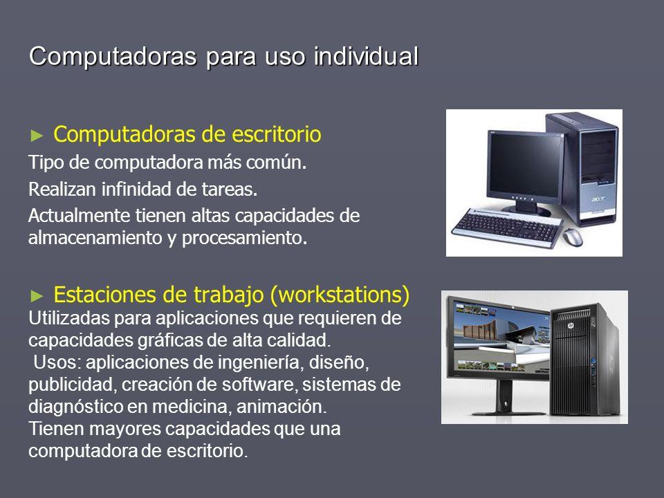 Computadoras para uso individual Computadoras de escritorio Tipo de computadora más común. Realizan infinidad de tareas. Actualmente tienen altas capa