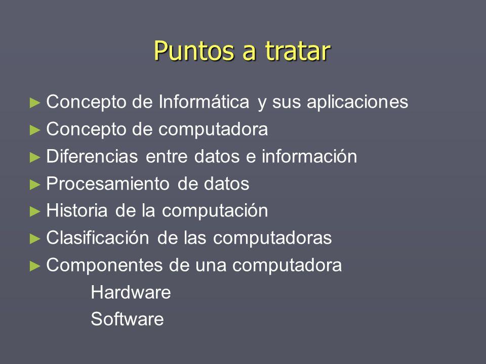 Puntos a tratar Concepto de Informática y sus aplicaciones Concepto de computadora Diferencias entre datos e información Procesamiento de datos Histor