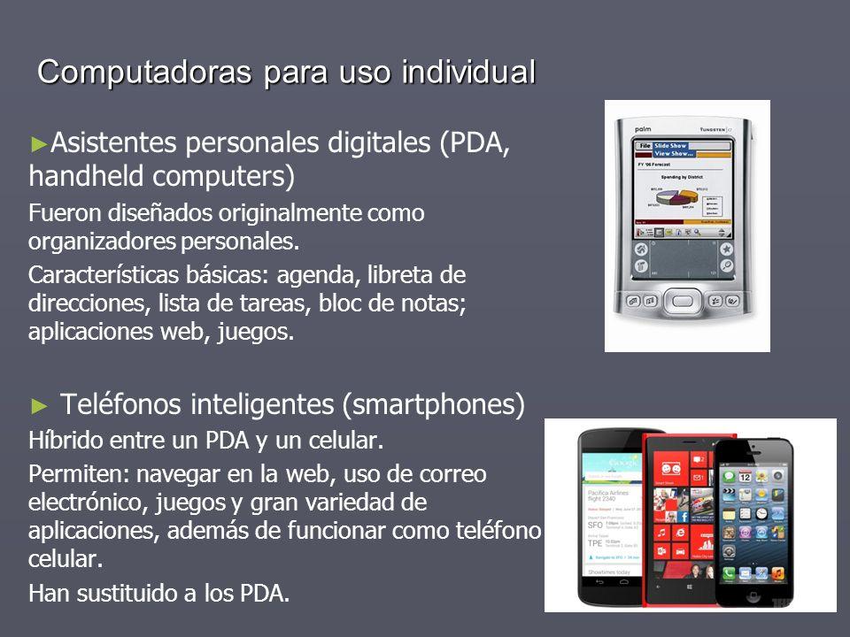 Computadoras para uso individual Asistentes personales digitales (PDA, handheld computers) Fueron diseñados originalmente como organizadores personale