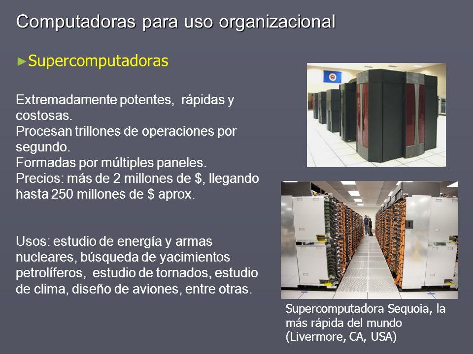 Computadoras para uso organizacional Supercomputadoras Extremadamente potentes, rápidas y costosas. Procesan trillones de operaciones por segundo. For