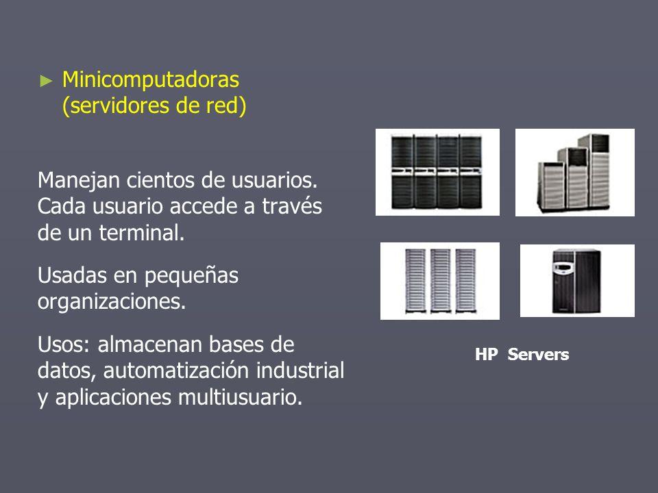 Minicomputadoras (servidores de red) Manejan cientos de usuarios. Cada usuario accede a través de un terminal. Usadas en pequeñas organizaciones. Usos