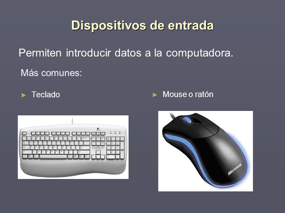 Dispositivos de entrada Más comunes: Teclado Permiten introducir datos a la computadora. Mouse o ratón