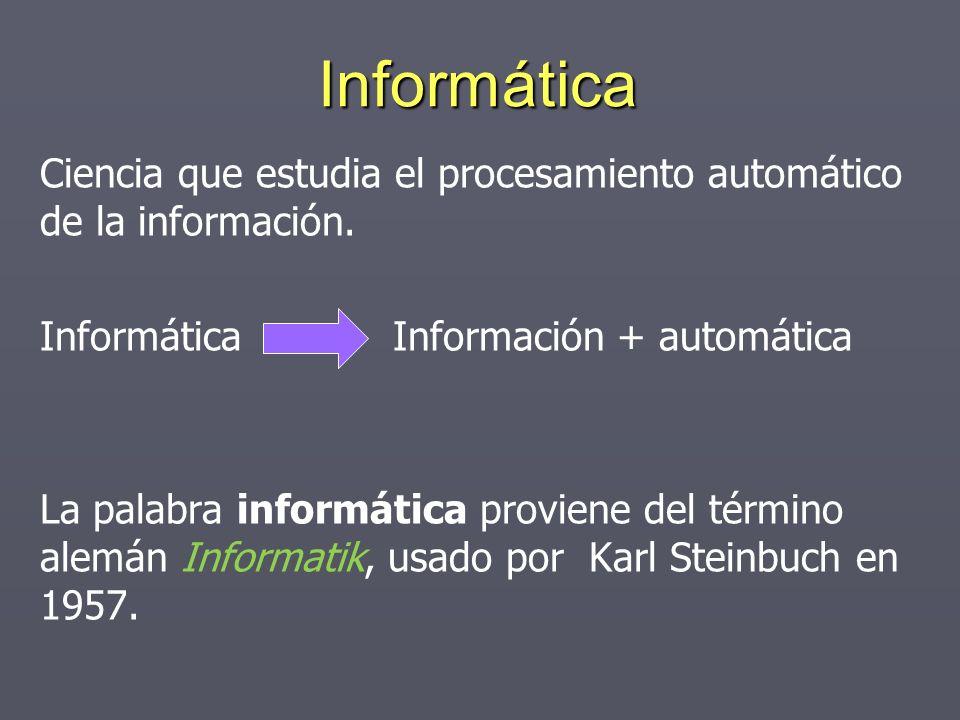 Informática Ciencia que estudia el procesamiento automático de la información. Informática Información + automática La palabra informática proviene de