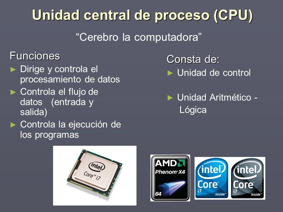 Funciones Dirige y controla el procesamiento de datos Controla el flujo de datos (entrada y salida) Controla la ejecución de los programas Consta de: