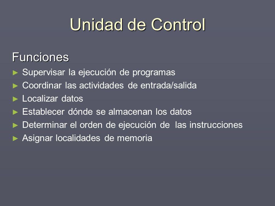 Unidad de Control Funciones Supervisar la ejecución de programas Coordinar las actividades de entrada/salida Localizar datos Establecer dónde se almac