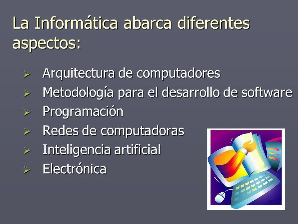 La Informática abarca diferentes aspectos: Arquitectura de computadores Arquitectura de computadores Metodología para el desarrollo de software Metodo
