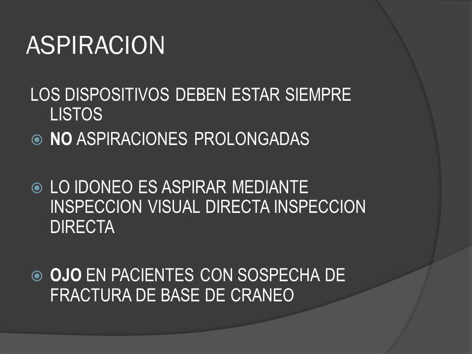 ASPIRACION LOS DISPOSITIVOS DEBEN ESTAR SIEMPRE LISTOS NO ASPIRACIONES PROLONGADAS LO IDONEO ES ASPIRAR MEDIANTE INSPECCION VISUAL DIRECTA INSPECCION