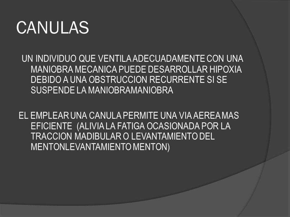 CANULAS UN INDIVIDUO QUE VENTILA ADECUADAMENTE CON UNA MANIOBRA MECANICA PUEDE DESARROLLAR HIPOXIA DEBIDO A UNA OBSTRUCCION RECURRENTE SI SE SUSPENDE