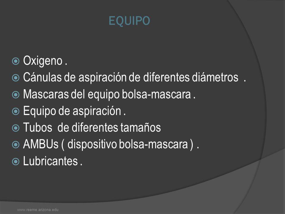 EQUIPO Oxigeno. Cánulas de aspiración de diferentes diámetros. Mascaras del equipo bolsa-mascara. Equipo de aspiración. Tubos de diferentes tamaños AM