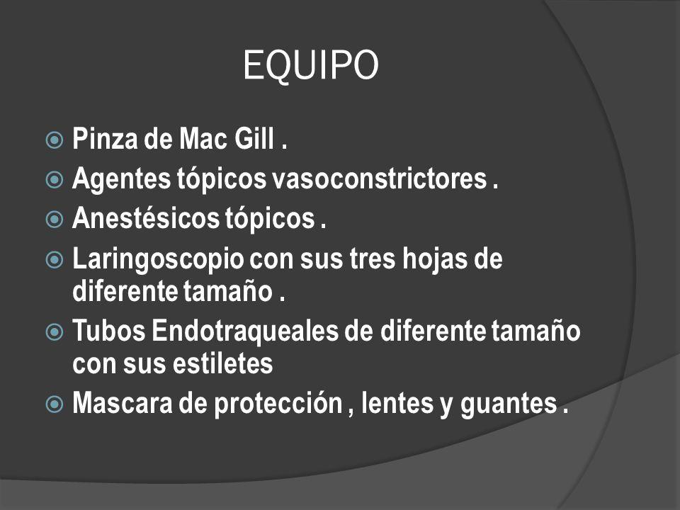 EQUIPO Pinza de Mac Gill. Agentes tópicos vasoconstrictores. Anestésicos tópicos. Laringoscopio con sus tres hojas de diferente tamaño. Tubos Endotraq