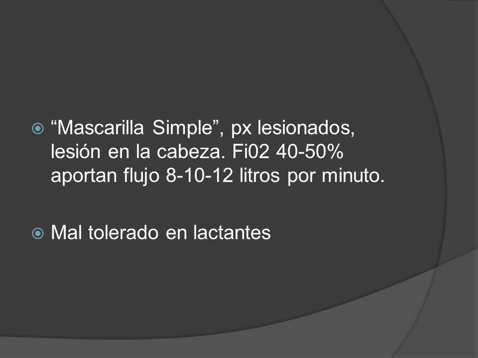 Mascarilla Simple, px lesionados, lesión en la cabeza. Fi02 40-50% aportan flujo 8-10-12 litros por minuto. Mal tolerado en lactantes