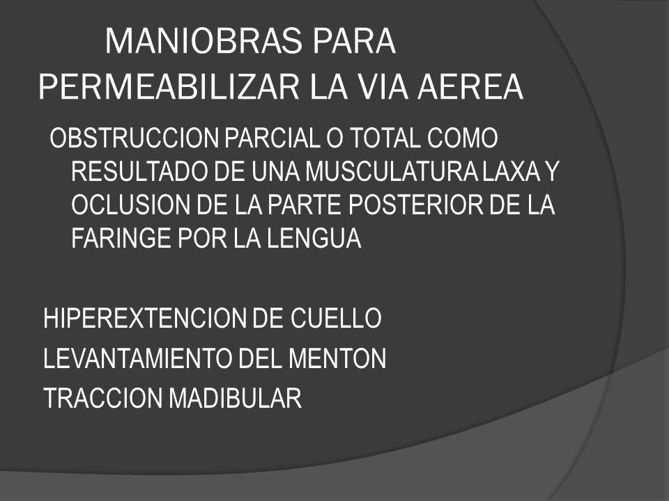 MANIOBRAS PARA PERMEABILIZAR LA VIA AEREA OBSTRUCCION PARCIAL O TOTAL COMO RESULTADO DE UNA MUSCULATURA LAXA Y OCLUSION DE LA PARTE POSTERIOR DE LA FA