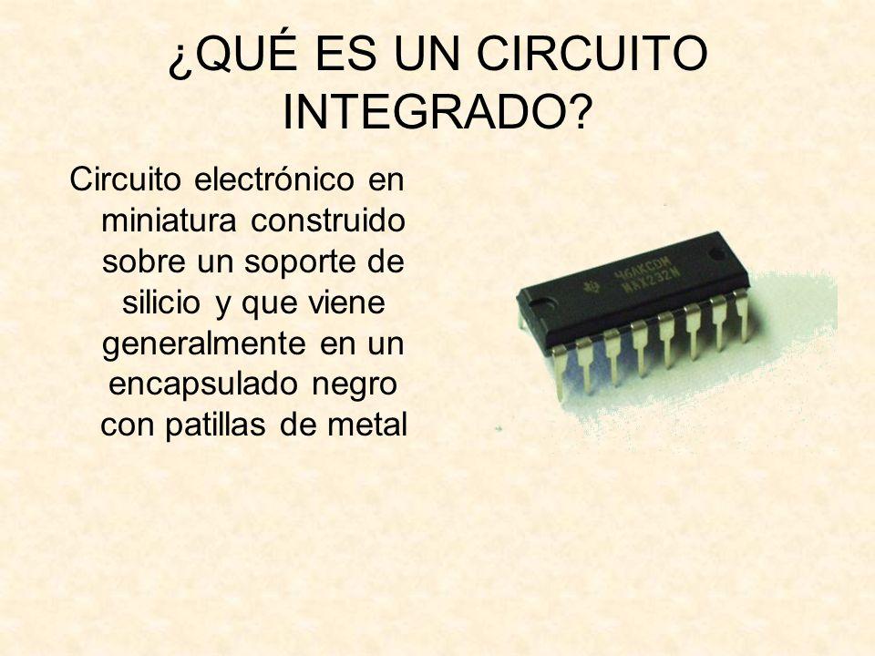¿QUÉ ES UN CIRCUITO INTEGRADO? Circuito electrónico en miniatura construido sobre un soporte de silicio y que viene generalmente en un encapsulado neg