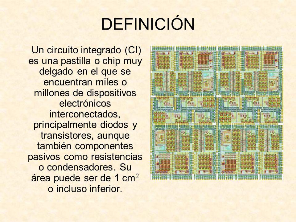 DEFINICIÓN Un circuito integrado (CI) es una pastilla o chip muy delgado en el que se encuentran miles o millones de dispositivos electrónicos interco