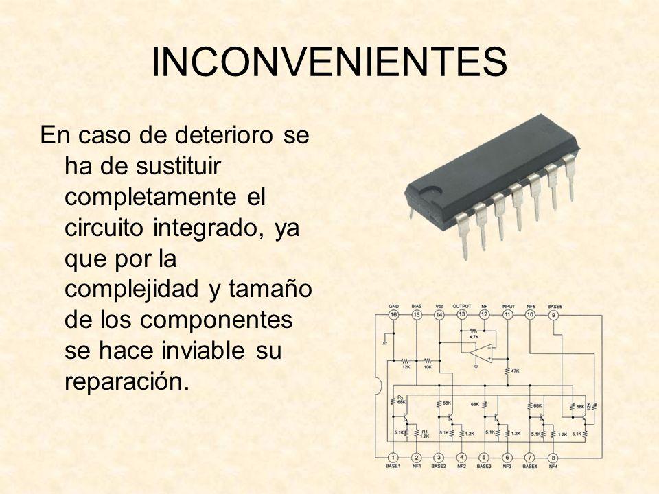 INCONVENIENTES En caso de deterioro se ha de sustituir completamente el circuito integrado, ya que por la complejidad y tamaño de los componentes se h