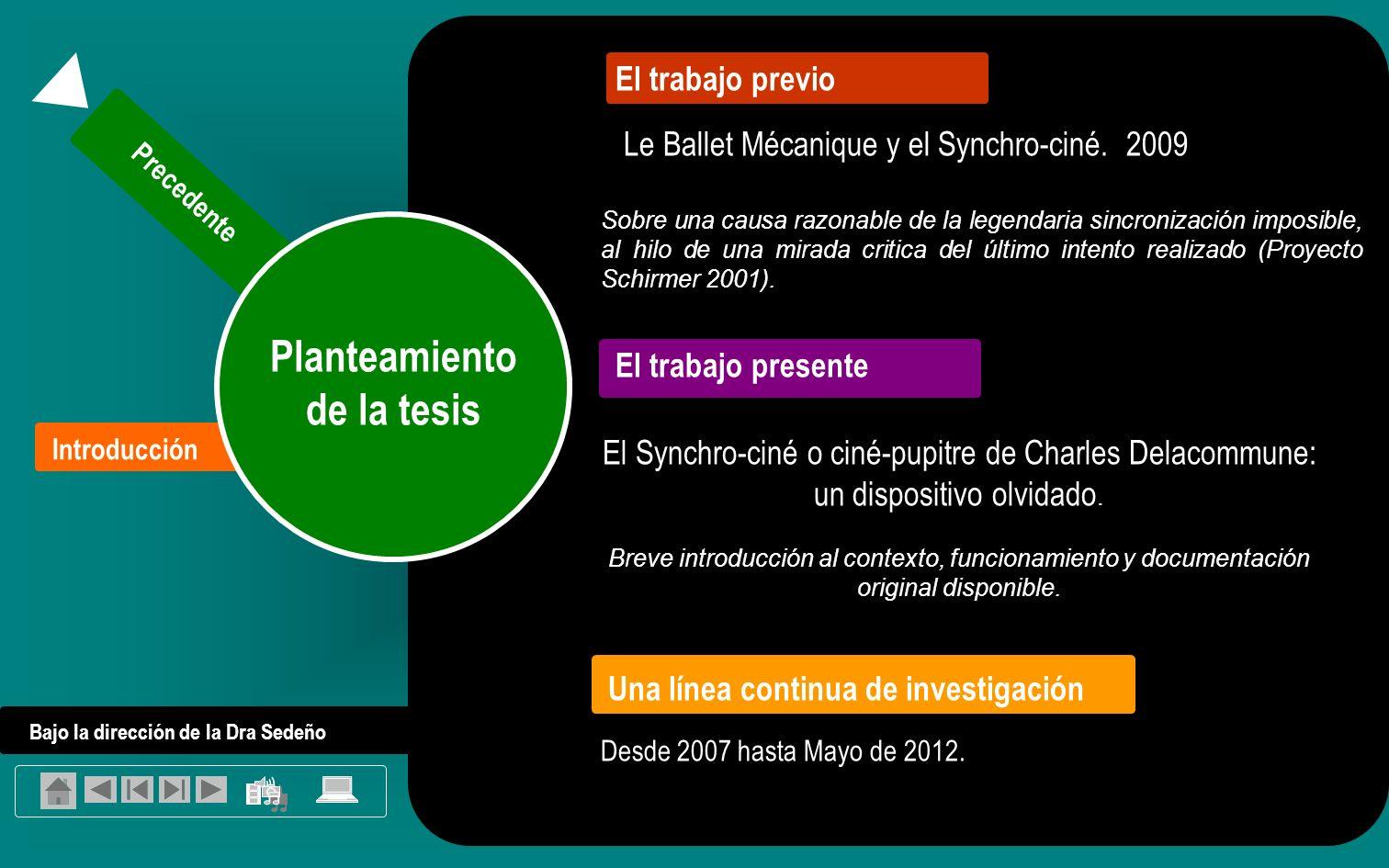 Introducción Temática general Precedente Planteamiento de la tesis El Synchro-ciné o ciné-pupitre de Charles Delacommune: un dispositivo olvidado.