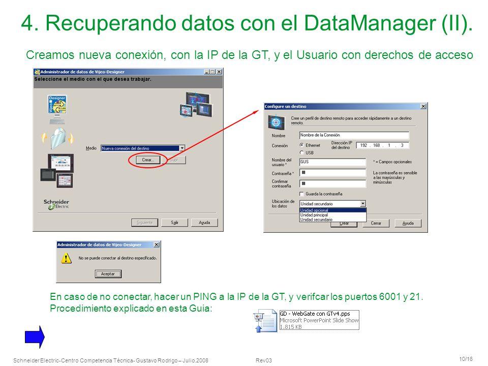 Schneider Electric 10/16 -Centro Competencia Técnica- Gustavo Rodrigo – Julio.2008 Rev03 4. Recuperando datos con el DataManager (II). Creamos nueva c
