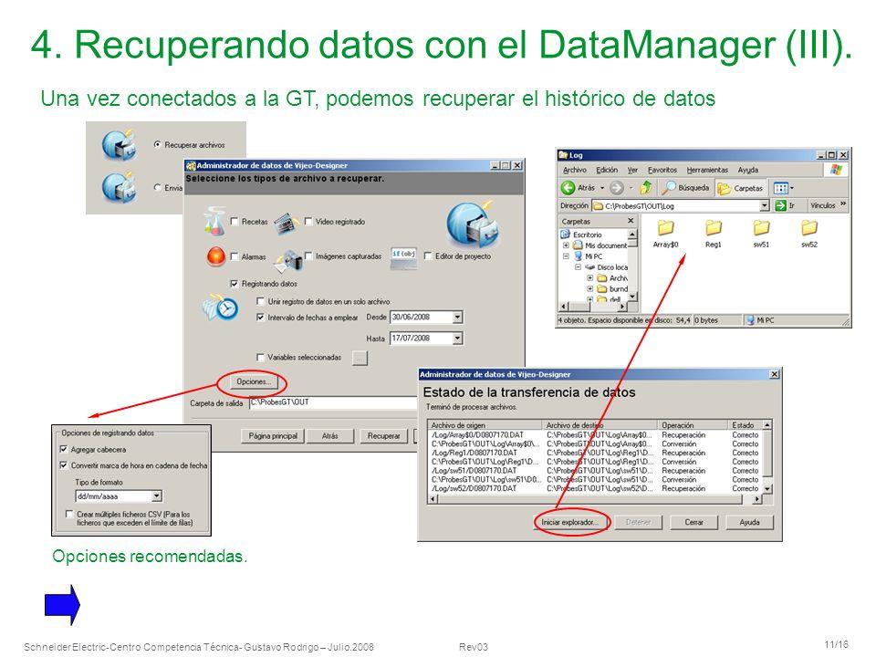 Schneider Electric 11/16 -Centro Competencia Técnica- Gustavo Rodrigo – Julio.2008 Rev03 4. Recuperando datos con el DataManager (III). Una vez conect