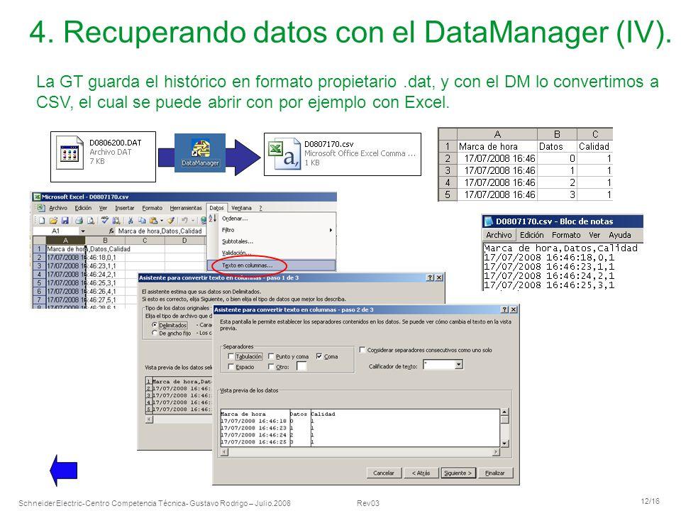 Schneider Electric 12/16 -Centro Competencia Técnica- Gustavo Rodrigo – Julio.2008 Rev03 4. Recuperando datos con el DataManager (IV). La GT guarda el
