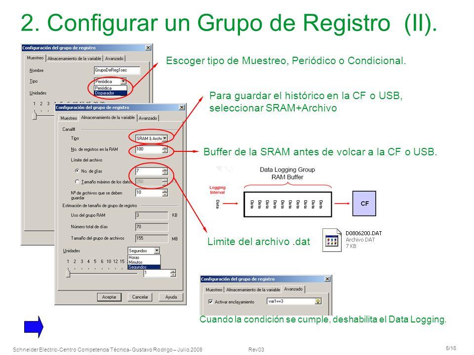 Schneider Electric 6/16 -Centro Competencia Técnica- Gustavo Rodrigo – Julio.2008 Rev03 2. Configurar un Grupo de Registro (II). Escoger tipo de Muest