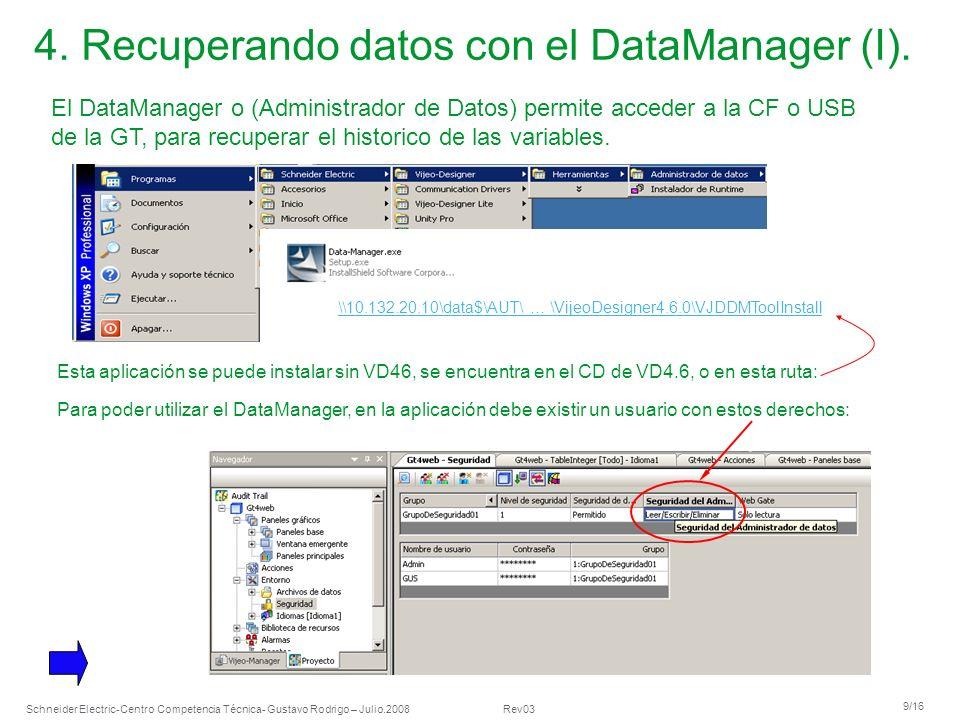 Schneider Electric 9/16 -Centro Competencia Técnica- Gustavo Rodrigo – Julio.2008 Rev03 4. Recuperando datos con el DataManager (I). El DataManager o