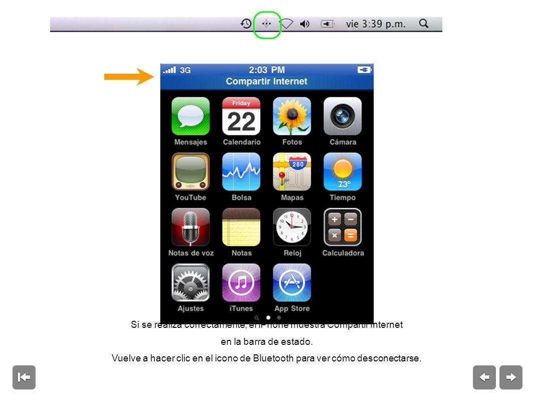 Si se realiza correctamente, el iPhone muestra Compartir Internet en la barra de estado.