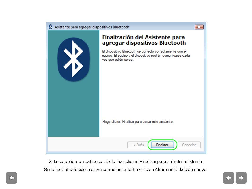 Si la conexión se realiza con éxito, haz clic en Finalizar para salir del asistente.