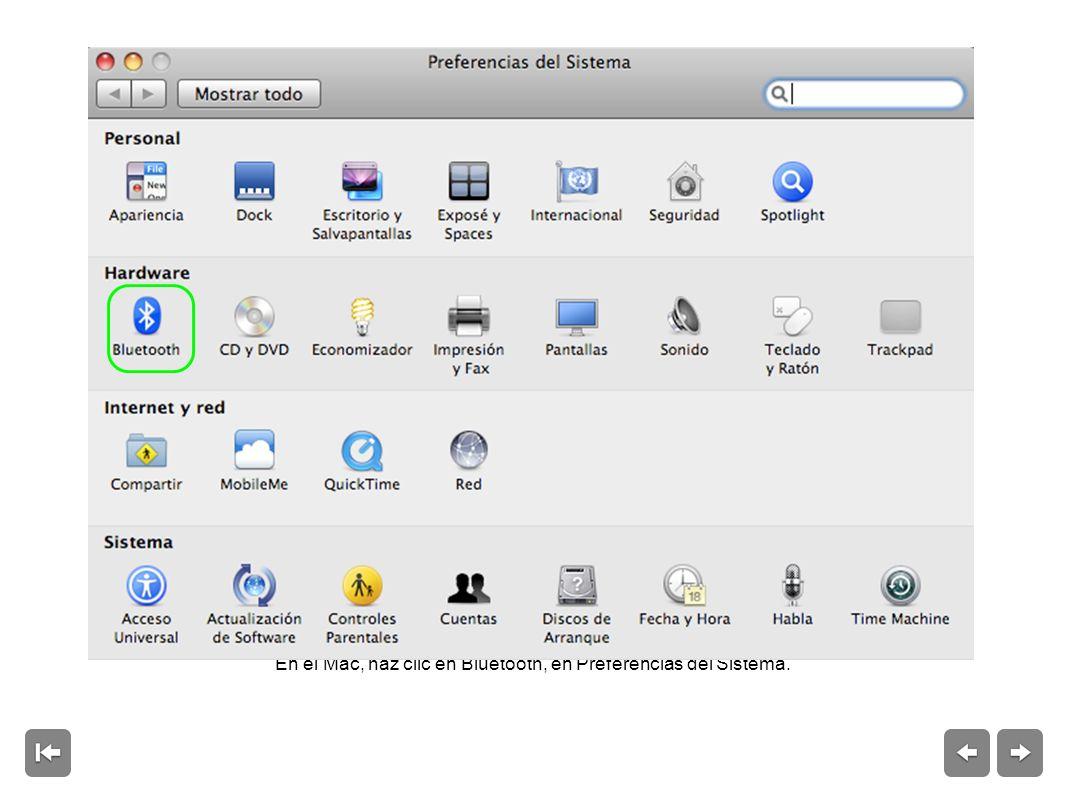 En el Mac, haz clic en Bluetooth, en Preferencias del Sistema.