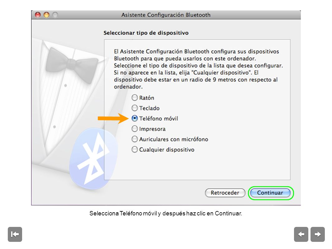 Windows XP: haz clic en Dispositivos Bluetooth en el Panel de control.
