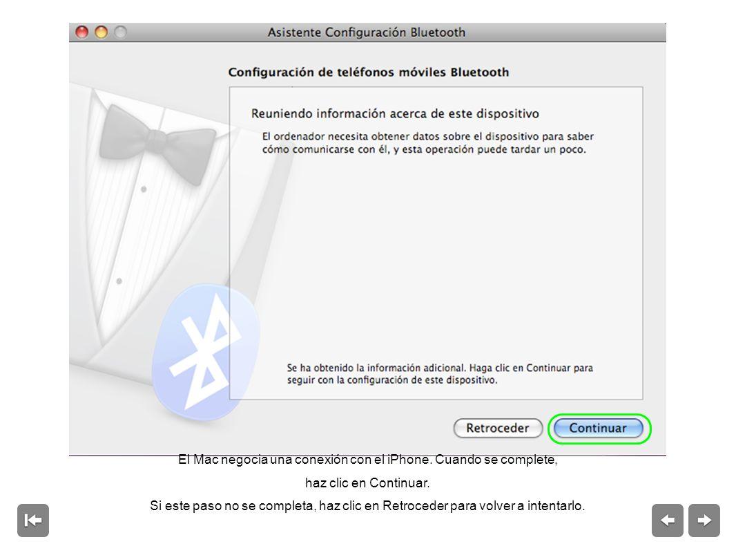 El Mac negocia una conexión con el iPhone.Cuando se complete, haz clic en Continuar.