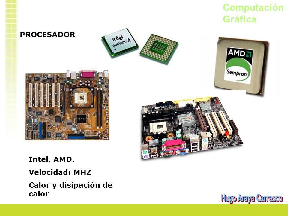 Computación Gráfica PROCESADOR Intel, AMD. Velocidad: MHZ Calor y disipación de calor