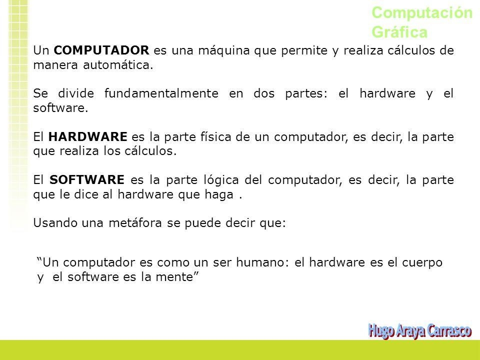 Computación Gráfica Un COMPUTADOR es una máquina que permite y realiza cálculos de manera automática. Se divide fundamentalmente en dos partes: el har