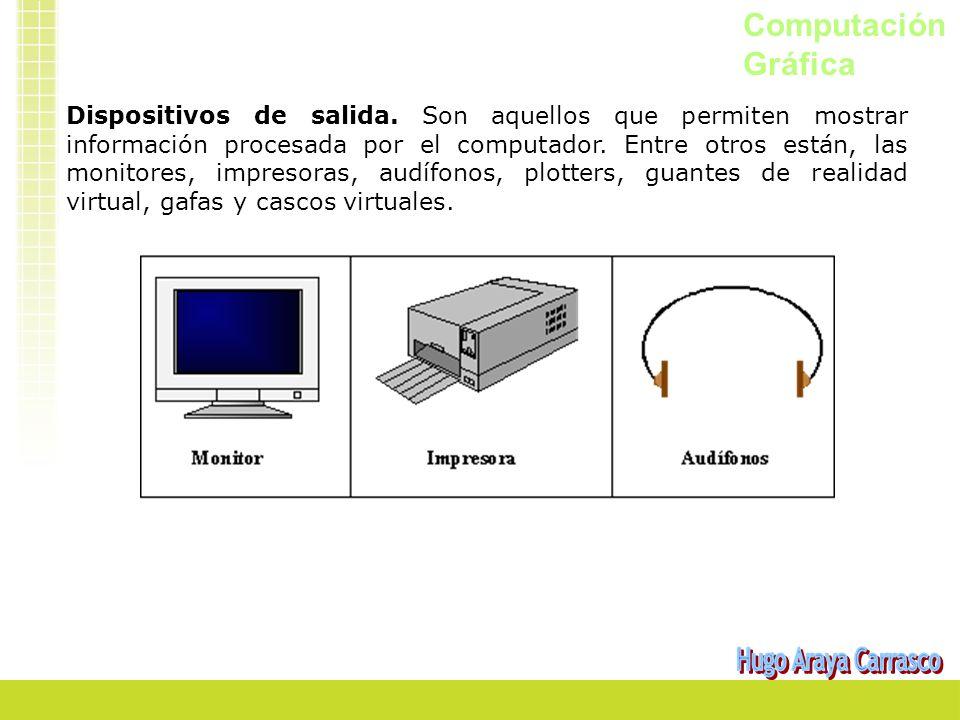 Computación Gráfica Dispositivos de salida. Son aquellos que permiten mostrar información procesada por el computador. Entre otros están, las monitore