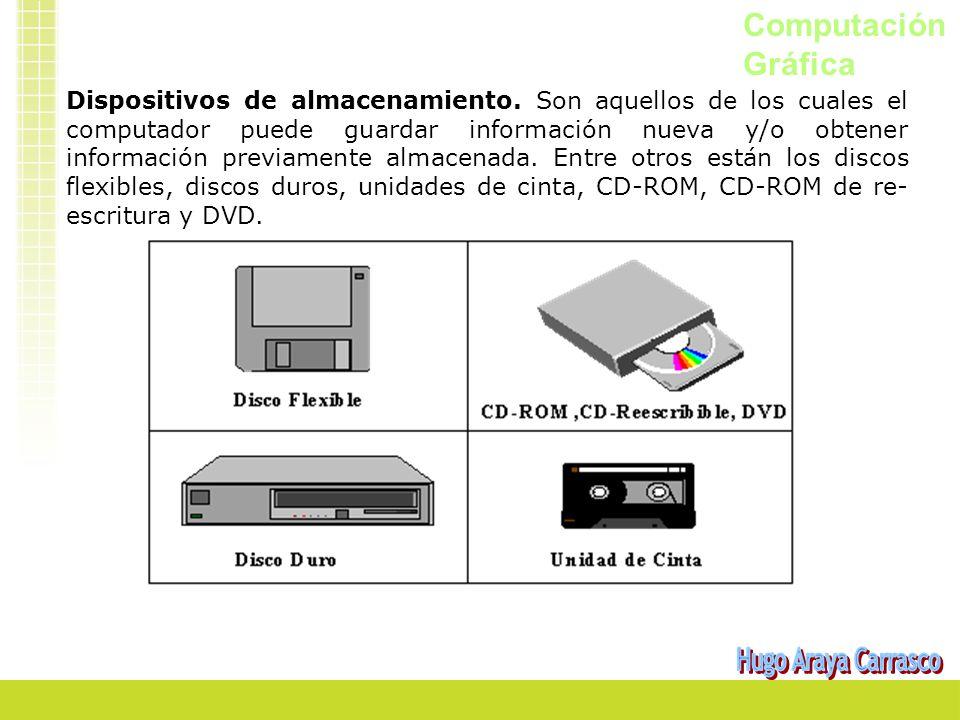 Computación Gráfica Dispositivos de almacenamiento. Son aquellos de los cuales el computador puede guardar información nueva y/o obtener información p