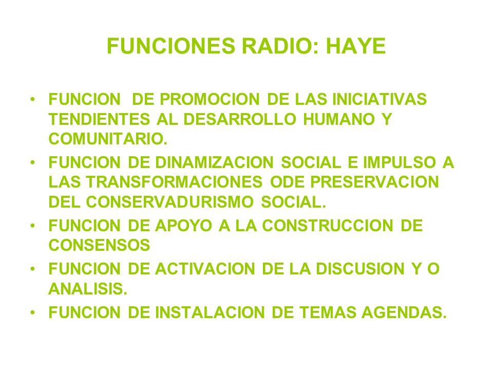 FUNCIONES RADIO: HAYE FUNCION DE PROMOCION DE LAS INICIATIVAS TENDIENTES AL DESARROLLO HUMANO Y COMUNITARIO. FUNCION DE DINAMIZACION SOCIAL E IMPULSO