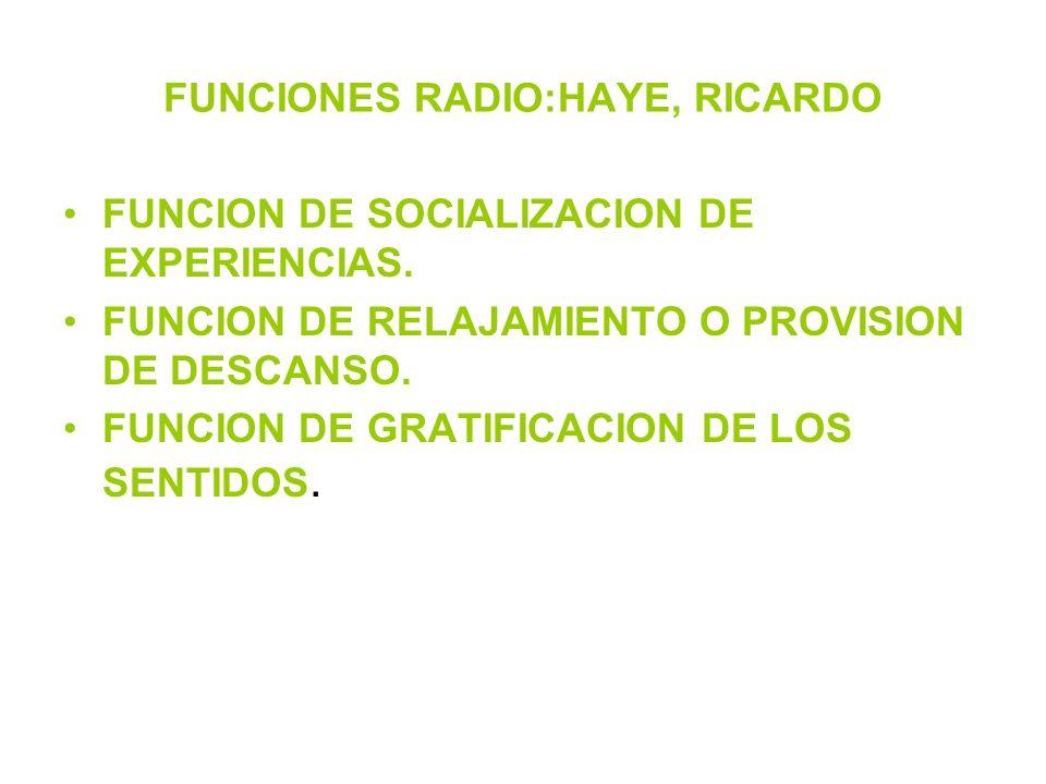 FUNCIONES RADIO:HAYE, RICARDO FUNCION DE SOCIALIZACION DE EXPERIENCIAS. FUNCION DE RELAJAMIENTO O PROVISION DE DESCANSO. FUNCION DE GRATIFICACION DE L