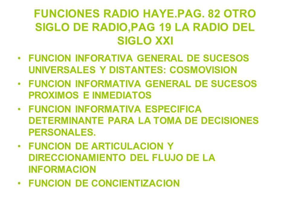FUNCIONES RADIO HAYE.PAG. 82 OTRO SIGLO DE RADIO,PAG 19 LA RADIO DEL SIGLO XXI FUNCION INFORATIVA GENERAL DE SUCESOS UNIVERSALES Y DISTANTES: COSMOVIS