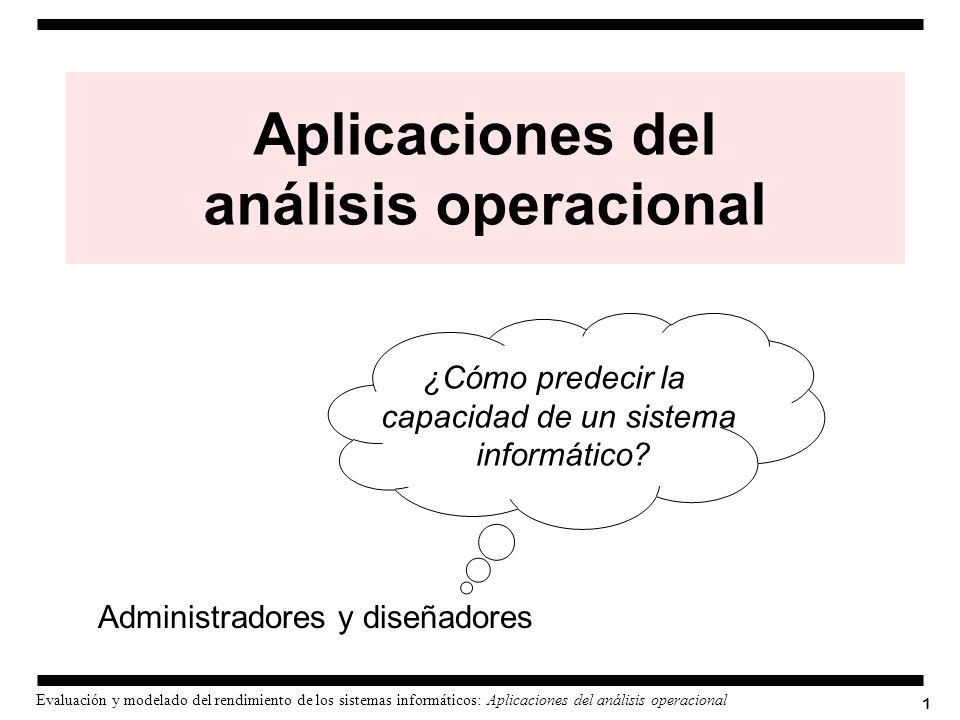 1 Evaluación y modelado del rendimiento de los sistemas informáticos: Aplicaciones del análisis operacional Administradores y diseñadores ¿Cómo predec
