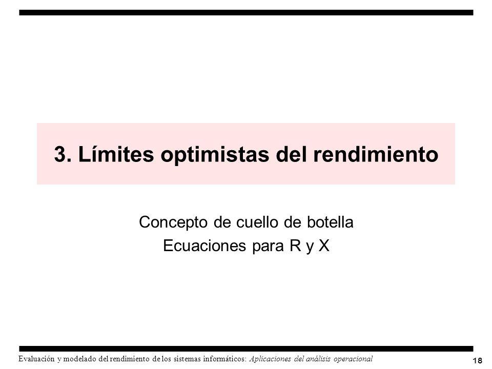 18 Evaluación y modelado del rendimiento de los sistemas informáticos: Aplicaciones del análisis operacional 3. Límites optimistas del rendimiento Con