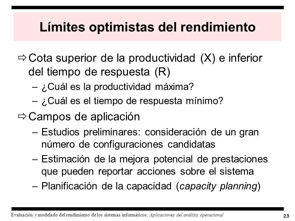 23 Evaluación y modelado del rendimiento de los sistemas informáticos: Aplicaciones del análisis operacional Límites optimistas del rendimiento Cota s