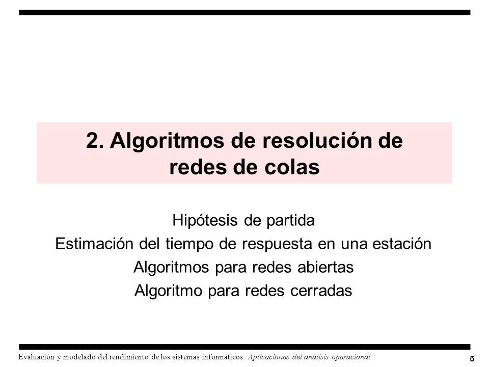 5 Evaluación y modelado del rendimiento de los sistemas informáticos: Aplicaciones del análisis operacional 2. Algoritmos de resolución de redes de co