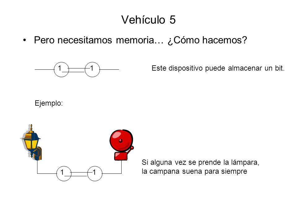 Vehículo 5 Pero necesitamos memoria… ¿Cómo hacemos? Este dispositivo puede almacenar un bit.11 Si alguna vez se prende la lámpara, la campana suena pa