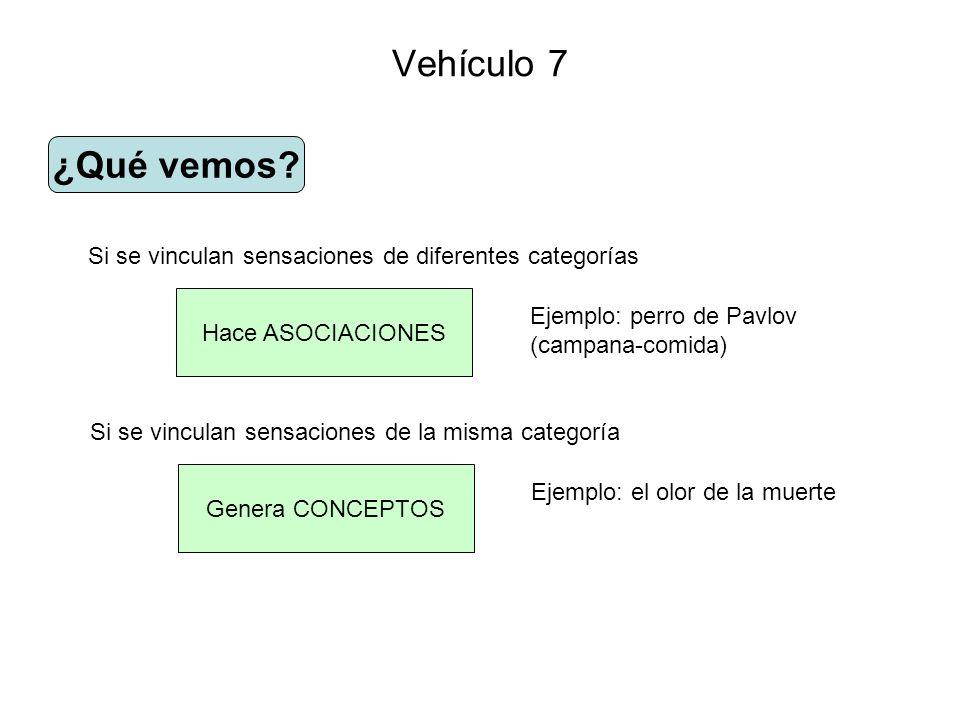 Vehículo 7 ¿Qué vemos? Hace ASOCIACIONES Si se vinculan sensaciones de diferentes categorías Ejemplo: perro de Pavlov (campana-comida) Genera CONCEPTO