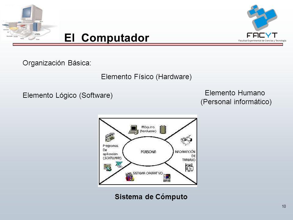 10 El Computador Organización Básica: Elemento Físico (Hardware) Elemento Lógico (Software) Elemento Humano (Personal informático) Sistema de Cómputo