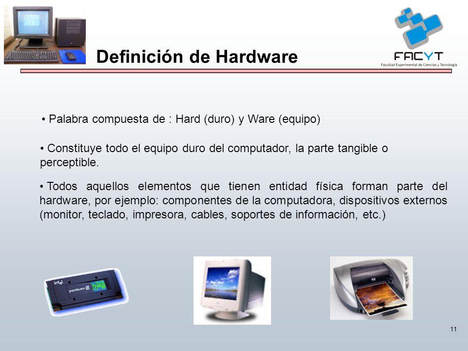 11 Definición de Hardware Palabra compuesta de : Hard (duro) y Ware (equipo) Constituye todo el equipo duro del computador, la parte tangible o percep